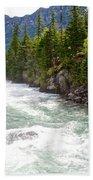 Landscape Of Mcdonald Creek Upstream In Spring In Glacier Np-mt Beach Towel