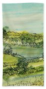 Landscape Pen & Ink With Wc On Paper Beach Towel