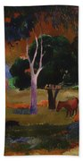Landscape With A Pig And Horse Beach Towel