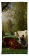 Landscape With Cattle And Sheep Beach Towel