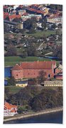 Landskrona Citadel Photographed From The Air Beach Towel