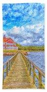 Landskrona Sea Shore Painting Beach Towel