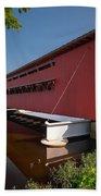 Langley Covered Bridge Michigan Beach Towel by Steve Gadomski