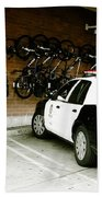 Lapd Cruiser And Police Bikes Beach Towel by Nina Prommer