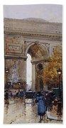 L'arc De Triomphe Paris Beach Towel by Eugene Galien-Laloue