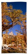 Larch Trees Frame Prusik Peak Beach Towel