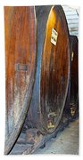 Large Barrels At Korbel Winery In Russian River Valley-ca Beach Towel