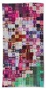 Large Blocks Digital Abstract - Purples Beach Towel