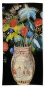 Large Bouquet On A Black Background Beach Towel by Odilon Redon