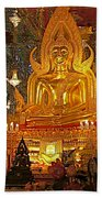 Large Buddha Image In Wat Tha Sung Temple In Uthaithani-thailand Beach Towel