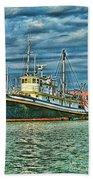Large Fishing Boat Hdr Beach Towel