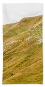 Large Flock Of Herded Sheep On A Steep Hillside Beach Towel