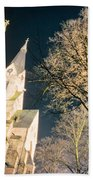 Large Stone Church At Night Beach Towel