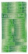 Las Vegas Street Road Signs  Beach Towel