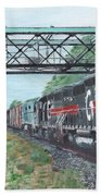 Last Train Under The Bridge Beach Towel by Cliff Wilson