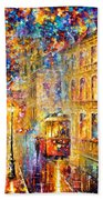 Last Trolley - Palette Knife Oil Painting On Canvas By Leonid Afremov Beach Towel