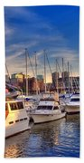 Late Afternoon At Constitution Marina - Charlestown Beach Towel by Joann Vitali