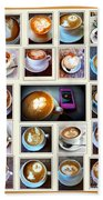 Latte Art Collage Beach Towel