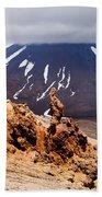 Lava Sculptures And Volcanoe Mount Ngauruhoe Nz Beach Towel