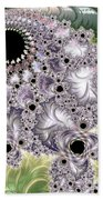 Lavender And Green Fractal Abstract  Beach Towel