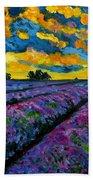 Lavender Fields At Dusk Beach Sheet