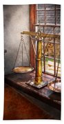 Lawyer - Scales Of Justice Beach Towel by Mike Savad
