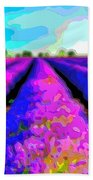 Layer Landscape Art Lavender Field Beach Towel