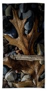 Leaf And Stones Beach Towel