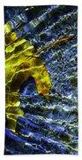 Leaf In Creek - Blue Abstract Beach Towel