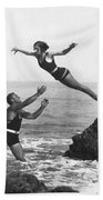 Leap Into Life Guard's Arms Beach Sheet