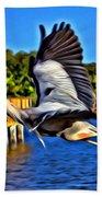 Leaping Egret Beach Towel