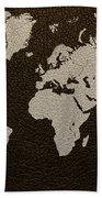 Leather Texture Map Of The World Beach Towel