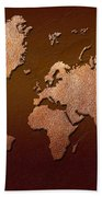 Leather World Map Beach Towel by Zaira Dzhaubaeva