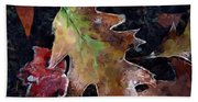 Leaves And Frost Beach Towel