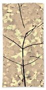 Leaves Fade To Beige Melody Beach Towel