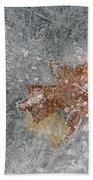Leaves In Ice Beach Towel