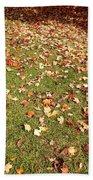 Leaves On Grass Beach Towel