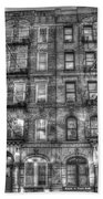 Led Zeppelin Physical Graffiti Building In Black And White Beach Towel