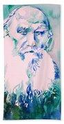 Leo Tolstoy Watercolor Portrait.2 Beach Towel