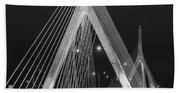 Leonard P. Zakim Bunker Hill Memorial Bridge Bw Beach Towel