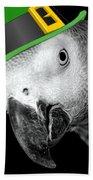 Leprechaun Parrot Beach Towel