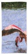 Lesser Flamingo Filter Feeding Lake Nakuru Kenya Beach Towel
