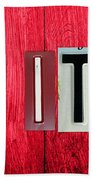 Let It Be License Plate Letter Vintage Phrase Word Artwork On Red Wood Beach Towel