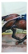 Racehorse Painting In Watercolor Let's Roll Beach Towel