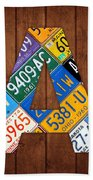 Letter A Alphabet Vintage License Plate Art Beach Towel by Design Turnpike