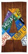 Letter A Alphabet Vintage License Plate Art Beach Towel