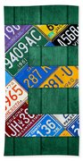 Letter E Alphabet Vintage License Plate Art Beach Towel by Design Turnpike