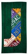 Letter J Alphabet Vintage License Plate Art Beach Towel