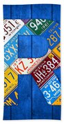 Letter R Alphabet Vintage License Plate Art Beach Towel by Design Turnpike