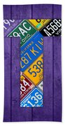 Letter T Alphabet Vintage License Plate Art Beach Towel